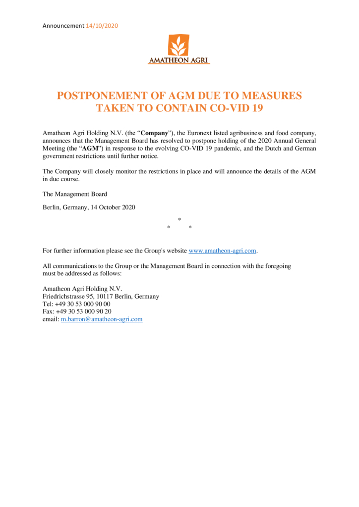 thumbnail of Press Release – Postponement of AGM