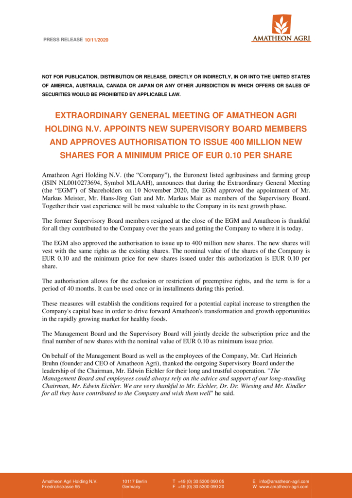 thumbnail of Press Release – New Supervisory Board